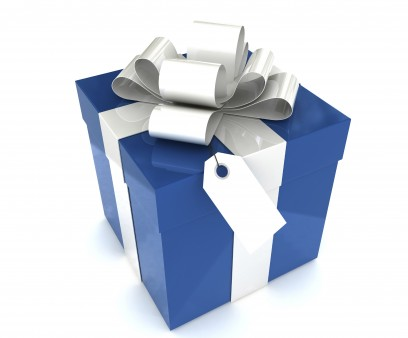 a blue gift box with a white ribbon