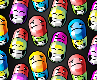 illustration of colorful pills with smile and frown faces
