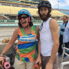 Anne Palmer with her son Eric (and her skateboard) at the Miami UltraSkate