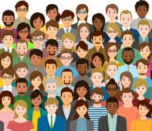 illustration of multi-ethnic group of peple